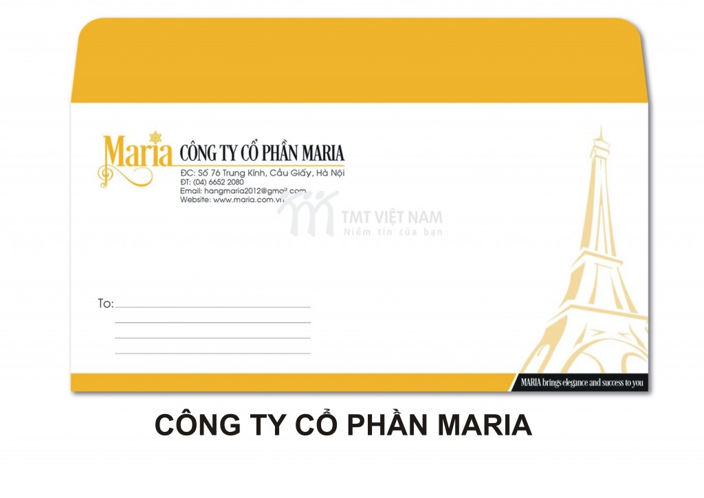 Mẫu in phong bì Công ty MARIA