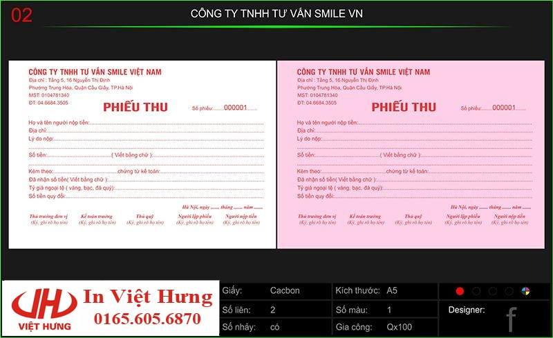 In phiếu thu công ty TNHH tư vấn Smile Việt Nam