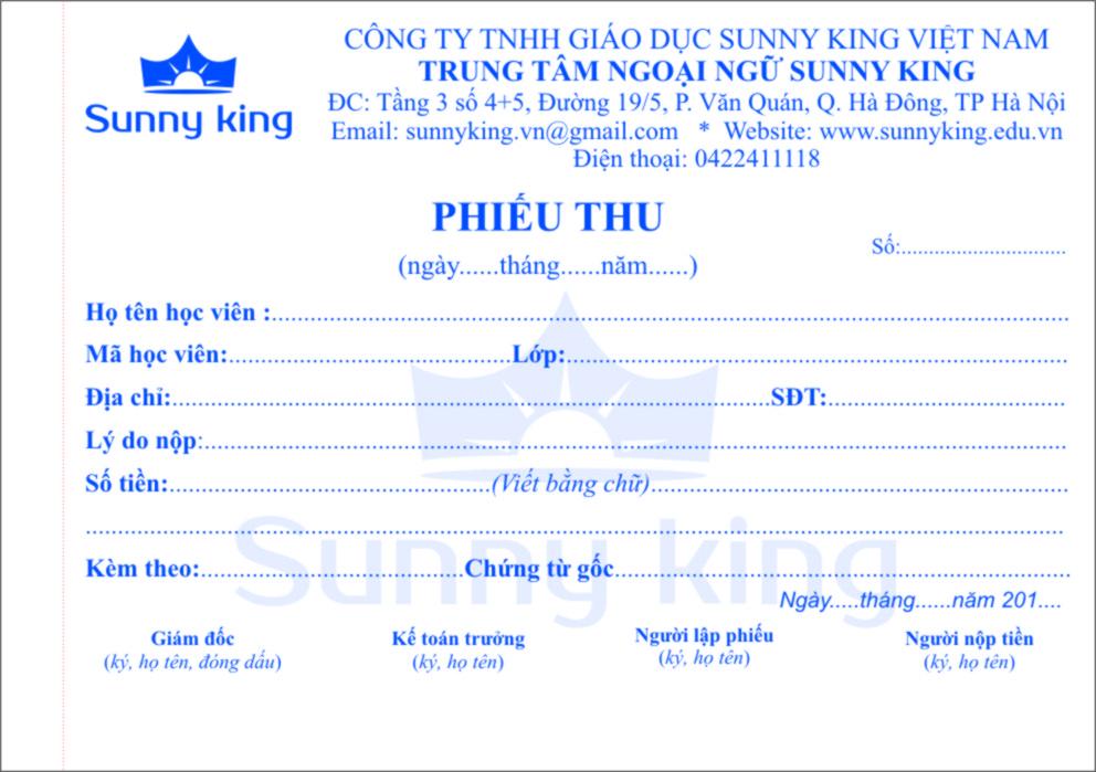 In phiếu thu của trung tâm ngoại ngữ Sunnyking